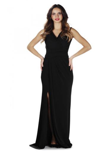 Pierre Cardin Siyah Sandy Yırtmaçlı Uzun Abiye Elbise Siyah